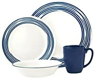 Corelle Vitrelle 3-Layer Glass 16 Pieces Set, Cobalt Blue/White, Glass