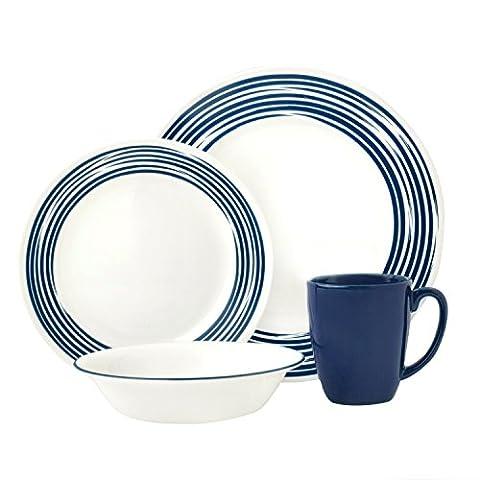 Corelle Vitrelle Glass Brushed Chip and Break Resistant Dinner Set,