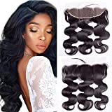 Maxine Free Part Ear to Ear 13x4' Lace Frontal Closure with Baby Hair Brazilian Virgin Human Hair Body Wave Full Lace Frontal Clsoures Bleached Knots 14inches Natural Color