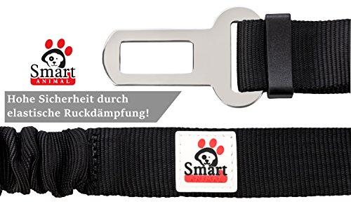 Premium Hunde-Sicherheitsgurt - Wertbeständiger Chrom-Verschluss und elastische Ruckdämpfung | Idealer Autogurt-Adapter für Hunde-Geschirr oder Halsband | Perfekter Anschnallgurt für höchste Sicherheit |Smart Animal Hunde-Anschnall-Gurt -