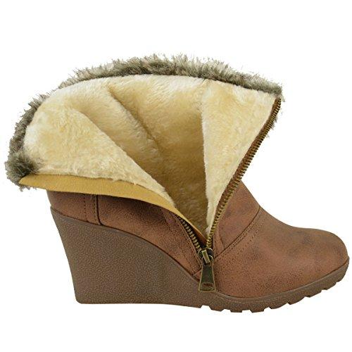 Femmes Hiver Fourrure Compensé Plateforme Cheville Bottes Cotonneux À Fermeture Éclaire Doublé Chaussures Pointure Simili-cuir Brun Clair