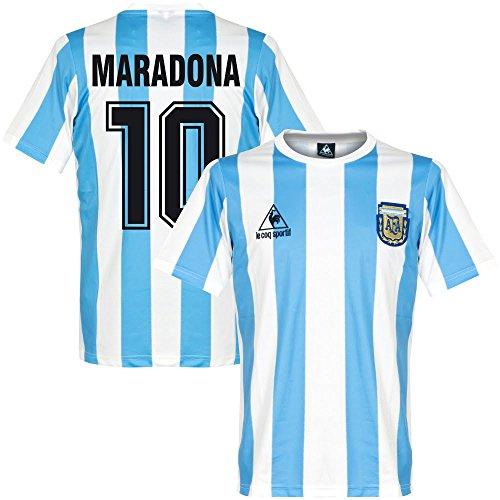 Le Coq Sportif 1986 Argentinien Home Retro Trikot + Maradona 10 - XL