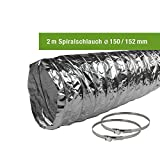 EASYTEC® Abluftschlauch Ø 150 mm/Ø 125 mm verschiedene Längen mit Schlauchschellen/Spiralschlauch/Aluschlauch/Schlauch/152 mm/127 mm (Ø 150 mm/Länge 2 Meter mit 2 Schellen)