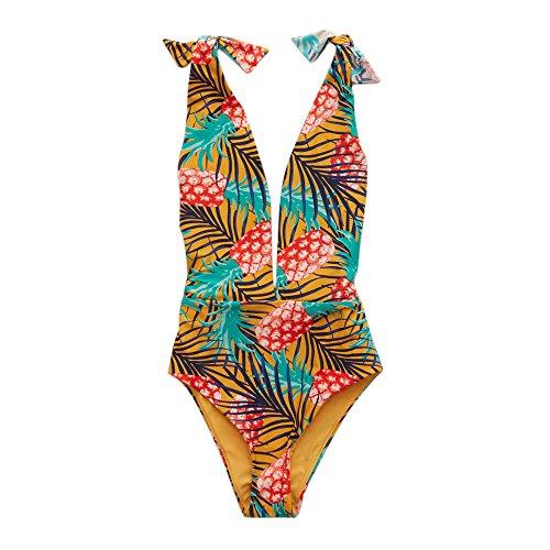 BAE WATCH Druck Badeanzug Damen, DoraMe Frauen Mode Backless Push-up Bikini Set Bodysuit Beachwear Rückenfrei Bademode (Gelb, Asien Größe M)