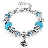 ATE® Bracelet Charms Femmes Verre émail Bleu Coeur Pendentif Cadeau #JW-B164