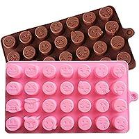 2 Unidades Decoración Diseño de Emoticones Emoticonos 3D Molde de Silicona para o Hacer Chocolate Microondas