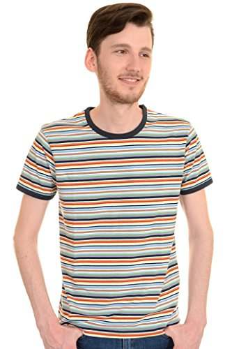 Mens Run & Fly 60s 70s Retro Multi Striped Ringer T Shirt