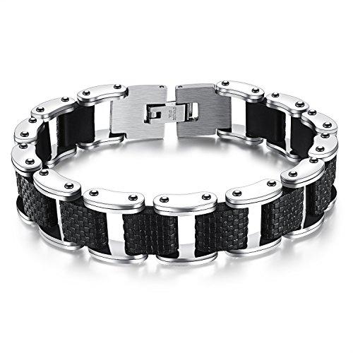 M. JVisun da uomo Punk jewelry Ferroviario Design Bracciale rigido in acciaio inox + Silicone, Nero, l8.26