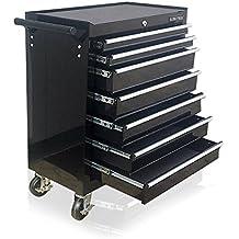 Carro de herramientas US Pro Tools, de color negro, de acero, 7 cajones