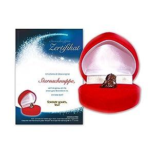 Echte Sternschnuppe in roter Herzbox – inkl. personalisierbarem Sternschnuppenzertifikat mit romantischer Widmung | als Geburtstagsgeschenk, zum Jahrestag oder Valentinstag Geschenk