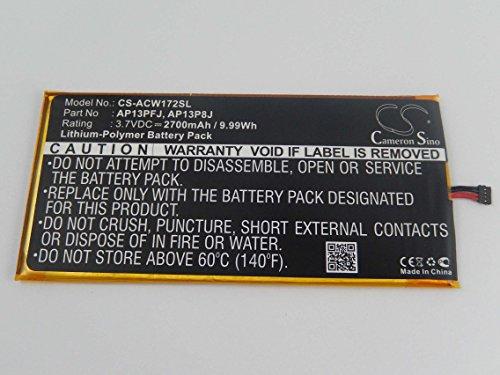 vhbw Li-Polymer Akku 2700mAh (3.7V) für Tablet Netbook Pad Acer Iconia B1-720-L804, B1-720-L864 Wie AP13PFJ, KT.0010G.005.
