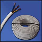 H05VV-F Manguera, Cable flexible, 3G1mm²–3x 1mm²–Blanco–5m / 10m / 25m