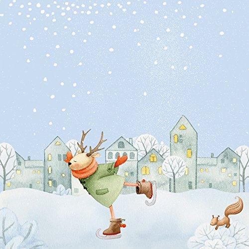 Artland Wandbild auf Alu-Verbundplatte UtArt Lass es schneien- Hirsch beim Schlittschuhlaufen 2 Feiertage & Feste Weihnachten Illustration Blau C8WH