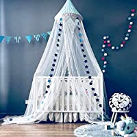 Dix-Rainbow Bed Canopy Mosquito Net Baby Crib Kids Twin Full Queen Size Bed, Reading Nook for Girls and Boys, Princess Lace Round Dome Fairy Netting Curtains, Kids Play Tent Castle Games House - Blue