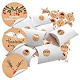 24 kleine Geschenkboxen Holz-Optik weiß (14,5 x 10,5 cm ca. 3 cm Höhe) + 24 runde Weihnachts-Aufkleber mit Text 4 cm; schwarz-rot-weiß (14126) Verpackung für Weihnachtsgeschenke zum Befüllen