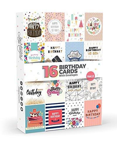 16 Geburtstagskarten von Joy MastersTM Vol. 2, Multipack mit Umschlägen, Großes Set für Damen und Herren