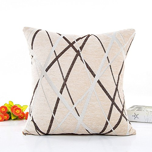 Mumustar Casual Lines 42X42cm Square Soft Plush Throw Pillow Case Home Decorative For Living Home Seat Chair Sofa Cushion Cover Protector Dirt Resistant (Beige)