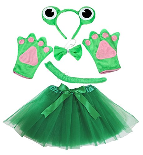 Petitebelle Frog Costume Headband Bowtie Tail Gloves Green Tutu Set for Lady ()