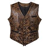 Bslingerie® Herren Steampunk Gothic Faux Leather Kostüm Korsett Weste (L, Braun)