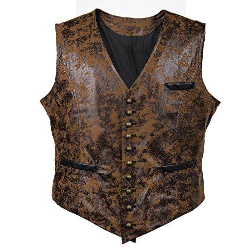 Bslingerie® Herren Steampunk Gothic Faux Leather Kostüm Korsett Weste (M, ()