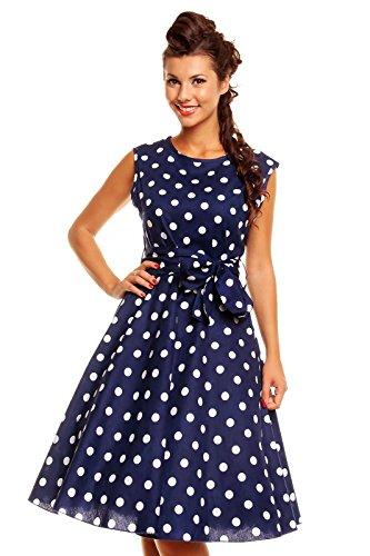 Looking Glam Retro Vintage Rockabilly Audrey Hepburn Style 50's 40's PIN UP Gepunktet Kleid Marine