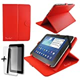 "Rood PU lederen hoes beschermer & standaard voor Tabl-it® QUAD CORE 7"" inch Tablet PC + Screen Protector en Stylus Pen"