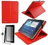 Rot PU Leder Cover Case Protector & Ständer für CSL Panther Tab 7, ATOM Z3735G 17,8cm Zoll Tablet PC + Displayschutzfolie und Eingabestift
