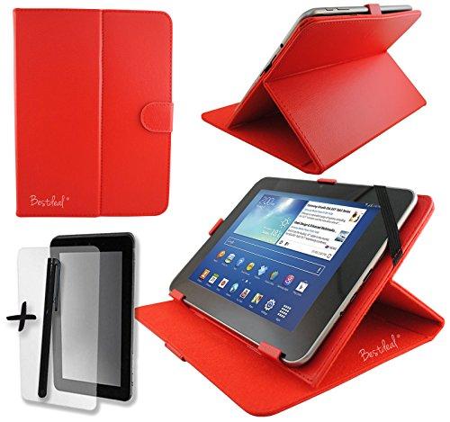Rot PU Leder Cover Case Protector & Ständer für Easy Home 717,8cm Zoll Tablet PC + Displayschutzfolie und Eingabestift (Easy Home Tablet 7)