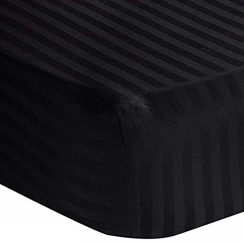 Homescapes Damast Spannbettlaken schwarz Spannbetttuch 180 x 200 cm 100% reine ägyptische Baumwolle Fadendichte 330 (Ägyptische Baumwolle Streifen-spannbetttuch)