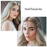 simsly Head Kette Schmuck mit Kristall Strass Anhänger Haar Kopfbedeckung für Frauen und Mädchen (Silber) ttl-2