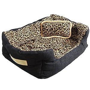 Lit pour animaux domestiques Niclas S de eyepower | panier corbeille canapé coussin amovible pour Chien Chiot Chat | motif fourrure de léopard | env 52x40x16cm | base caoutchouté