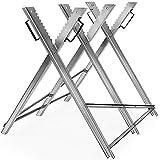 Monzana Sägebock | Metall | 83x81x88cm | verzinkt | 150kg Belastbarkeit | Sägegestell Holzsägebock Säge Kettensägebock Holzbock