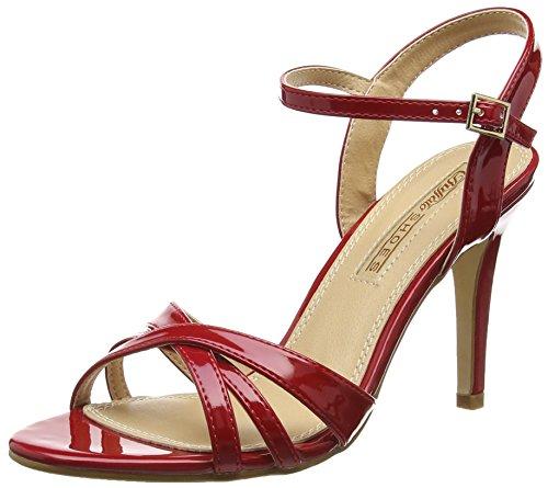 Buffalo Shoes 312703 PATENT PU, Damen Knöchelriemchen Sandalen, Rot (RED), 41 EU