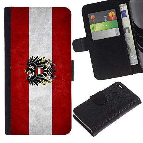 Graphic4You Vintage Uralt Flagge Von Italien Design Brieftasche Leder Hülle Case Schutzhülle für Apple iPhone 4 und 4S Österreich Österreichisch
