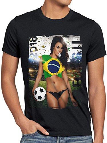 style3 WM 2018 Soccer Girl Deutschland Herren T-Shirt Fußball Trikot Germany Schwarz, Größe:S, Land:Brasilien