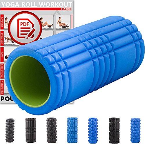 POWRX Faszienrolle Foamroller Massagerolle Pilatesrolle Schaumstoffrolle (Blau - Gerillt)