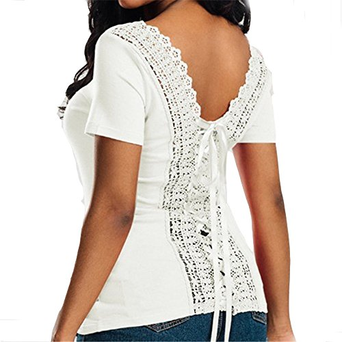 Damen Sexy T-Shirt Tops Bluse Oberteil Mit Spitze