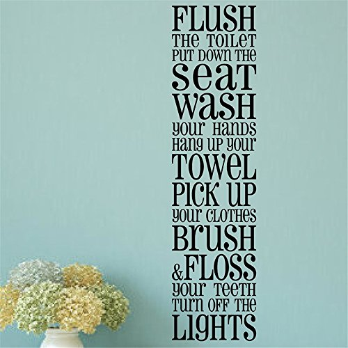 Stickers Muraux Vinyl Stickers Wall Home Decor Wall Decor Art Sticker Home Decals Bathroom Rules Flush Seat Wash Towel Pick Up