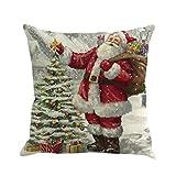 Kissenbezüge Longra 45cm*45cm Baumwolle Leinen Weihnachten Deko Kissenbezug Sofa Bett Auto Home Decor Festival Kissenhülle (E)