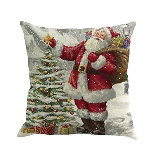 Longra Kissenbezüge 45cm*45cm Baumwolle Leinen Weihnachten Deko Kissenbezug Sofa Bett Auto Home Decor Festival Kissenhülle (E)