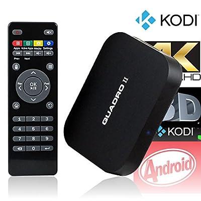 QUADRO II Android TV Box Quad Core Fully Loaded KODI XBMC Smart TV Player Internet Streamer Mini PC
