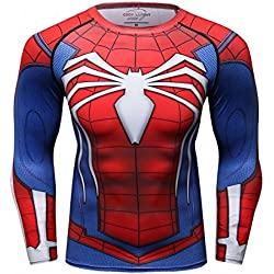 Cody Lundin Homme Spider Héros T-shirt Collant Manches Longues, Sport Fitness Shirt (M) - Bleu / rouge