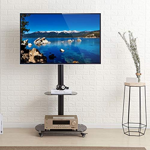 RFIVER Universal TV Ständer Mobile Möbel Fernsehständer mit Rollen Rollbar für 32 bis 65 Zoll Wagen Trolley Standfuss Standfuß mit 2 Platten Schwenkbar Höhenverstellbar TF8001