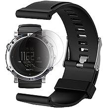 Banda Suunto Core / Essential con protector de pantalla, TUSITA Reemplazo de pulsera de silicona suave Correa de deporte WristBand Accesorio para Suunto Watch (NEGRO)