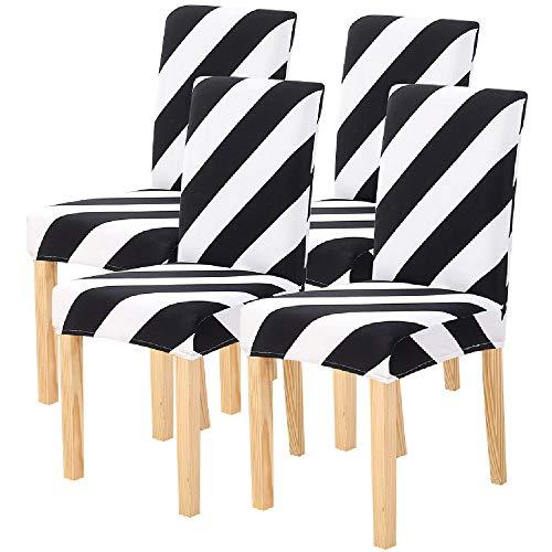 Coprisedie con schienale 4 pezzi,elasticizzato e moderna fodere coprisedia per sala da pranzo,hotel,arredamento ristorante,lavabile estraibile,copertura della sedia(strisce bianche e nere,4 pezzi)