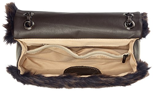 Chicca Borse Damen 8484 Schultertasche, 28x15.5x9 cm Marrone (Dark Brown)