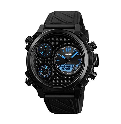 J.W. Sportuhren Männer Frauen Studenten Uhr Wecker GMT5 Chronograph Leuchtende Multi-Funktions-Outdoor-Wasserdichte Elektronische Militäruhr,Blue (Drucken Sie Multi-schnalle)