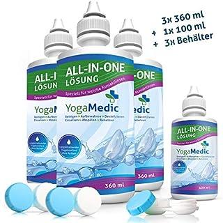EINFÜHRUNGSANGEBOT: YogaMedic Kontaktlinsen Flüssigkeit für weiche Linsen 3x 360ml, 1x 100ml Reisegröße, 3x Behälter - Kombilösung mit Panthenol für ein komfortables Tragegefühl