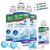 YogaMedic Kontaktlinsen Flüssigkeit 3x 360ml, 1x 100ml Reisegröße und 3x Behälter - Kombilösung für weiche Kontaktlinsen und mit Panthenol für ein komfortables Tragegefühl