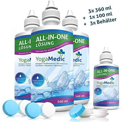 SPARPAKET YogaMedic® Kontaktlinsen Fluessigkeit für weiche Linsen 3x 360ml, 1x 100ml Reisegröße, 3x Behälter - Kombilösung Pflegemittel mit Panthenol für ein komfortables Tragegefühl